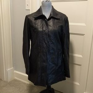 Gap long leather coat quilted lining